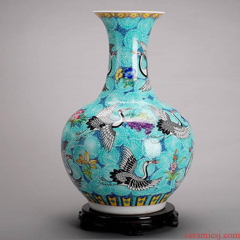 201 large hand - made jingdezhen ceramics powder enamel vase vase household adornment handicraft furnishing articles sitting room