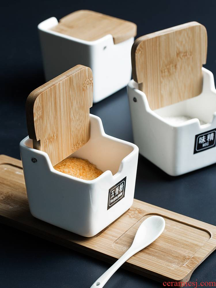 Porcelain color beauty European simple ceramic spice bottles suit with bamboo flip household caster seasoning box combination