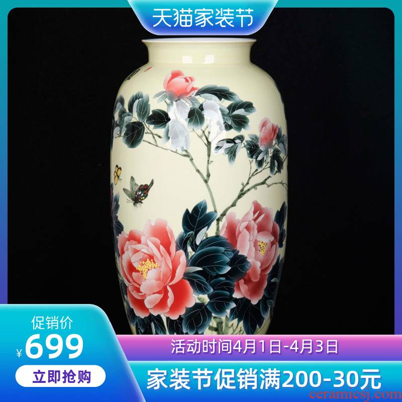 Jingdezhen ceramic home sitting room adornment hand - made peony vases, furnishing articles new Chinese arts and crafts porcelain
