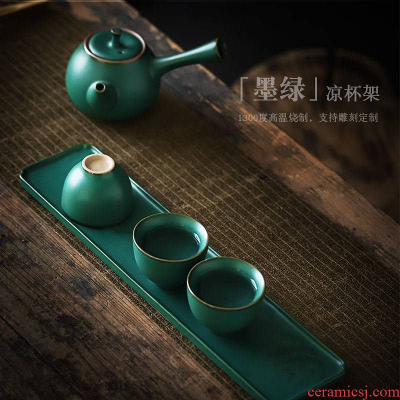 ShangYan ceramic cupholders cool beverage holder parts kung fu tea tea taking with zero receive cup rack shelf paperweight
