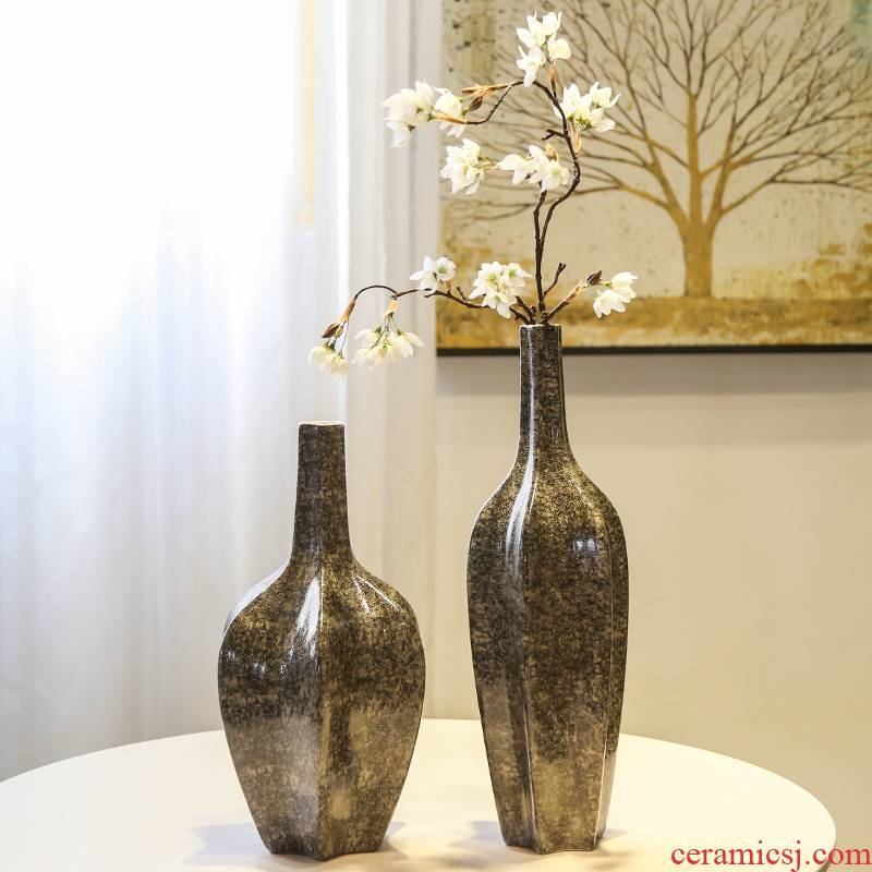 Jingdezhen ceramic vases, flower arranging flower implement new Chinese style furnishing articles flower adornment TV cabinet table porch dried flower simulation
