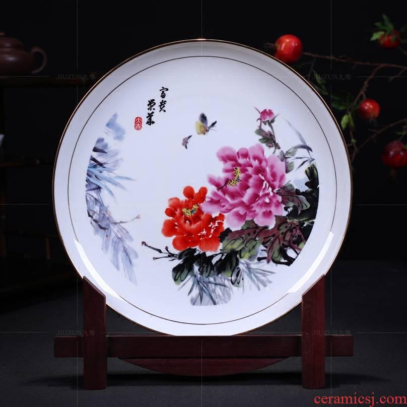 Jingdezhen ceramics decoration hanging dish see prosperity of modern Chinese style living room sat dish dish handicraft