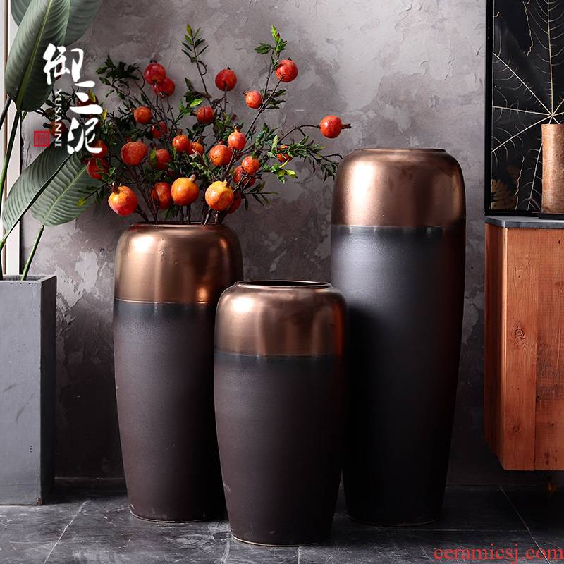 I and contracted Nordic ground dry flower vases, flower arrangement sitting room place decoration light wind ceramic flower implement key-2 luxury industry