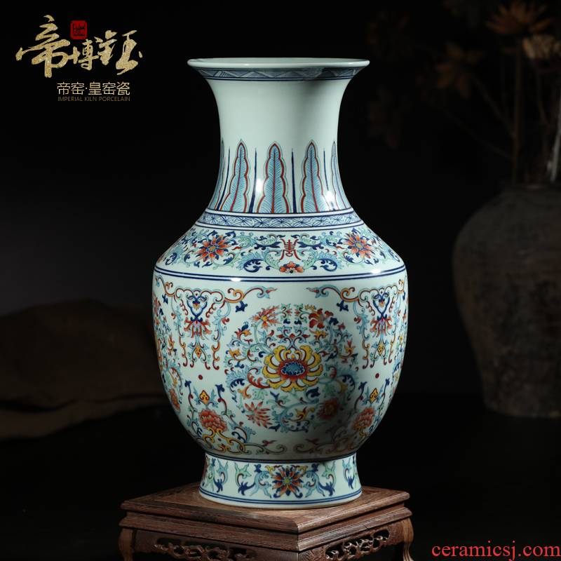 Jingdezhen ceramics high - end antique qianlong bucket colors branch lotus bottle of home sitting room adornment handicraft furnishing articles