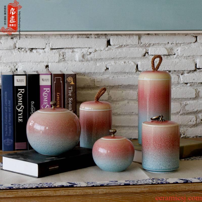 Jingdezhen up checking pink pu 'er tea tea pot many goods storage box ceramic tea pot