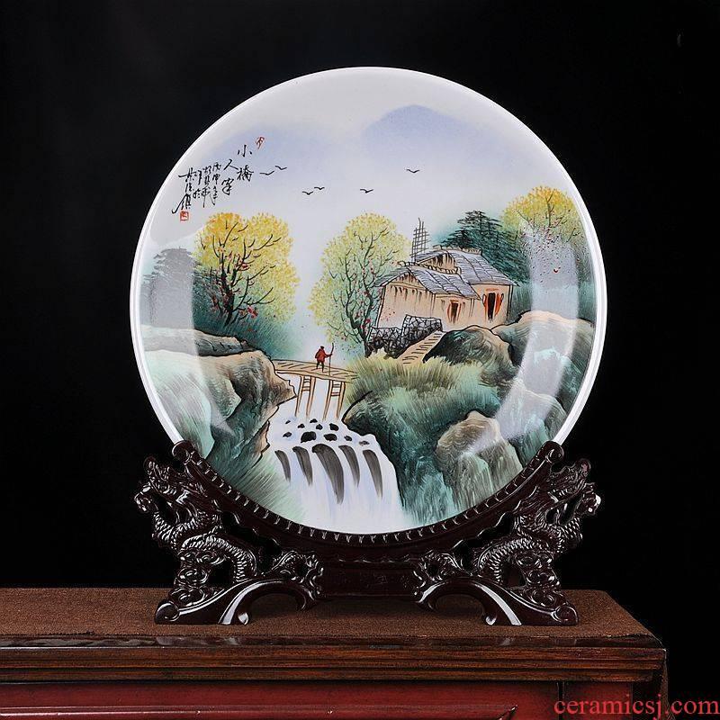 "Hang dish of jingdezhen ceramics decoration plate of hand - made ""Bridges the somebody else sit home decoration handicraft furnishing articles"