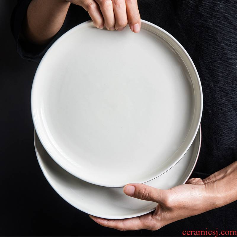 Creative contracted and Japanese ceramics tableware disc soup plate salad flat dish dish steak dishes in northern Europe