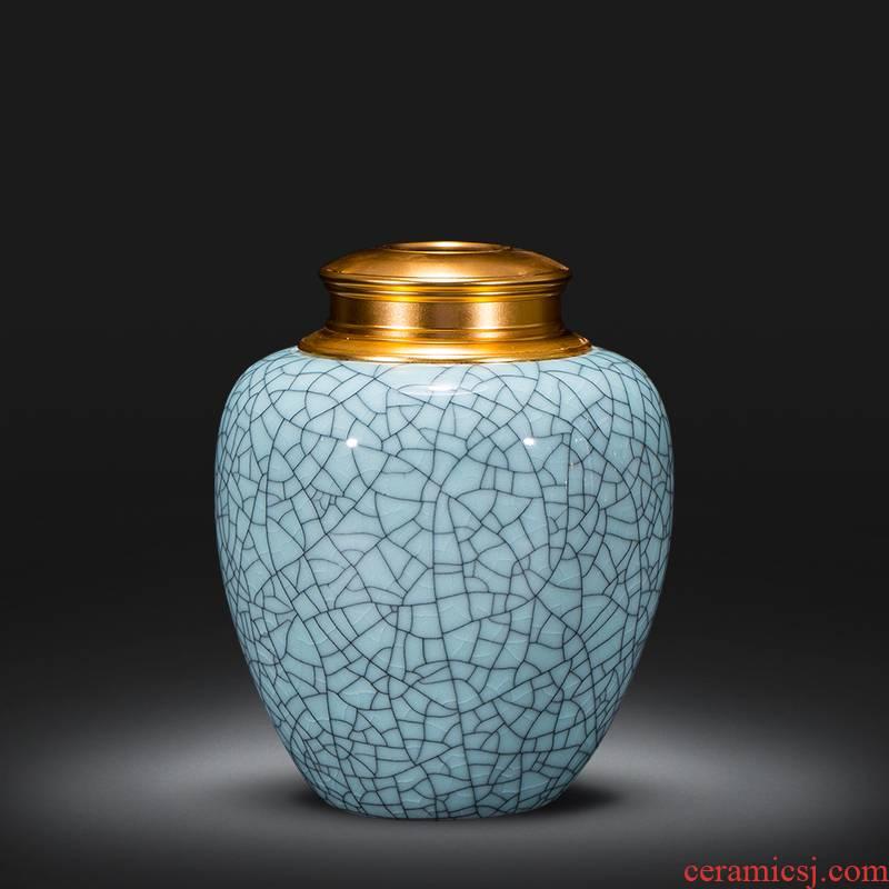Jingdezhen archaize crack glaze caddy fixings trumpet puer tea POTS Chinese style classical ceramic seal pot
