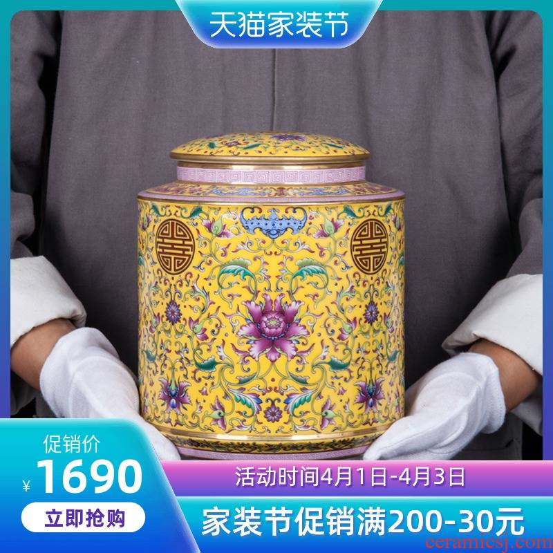 Jingdezhen ceramic new sitting room of Chinese style household tea tea caddy fixings decorative furnishing articles the opened a housewarming gift