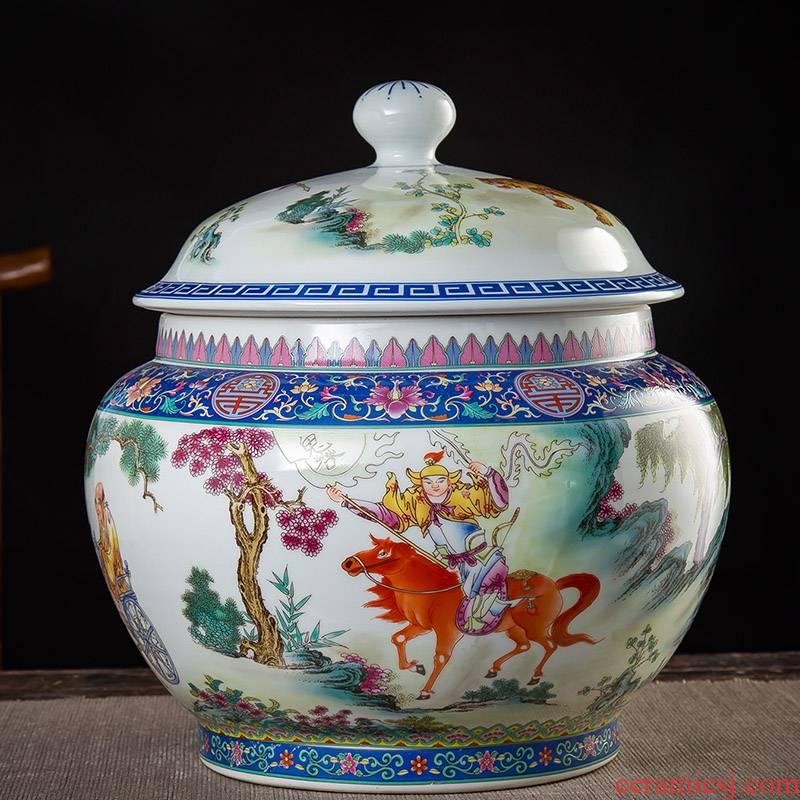 Jingdezhen ceramic tea pot seal storage tank super - sized household moistureproof guiguzi down the mountain two jins of restoring ancient ways