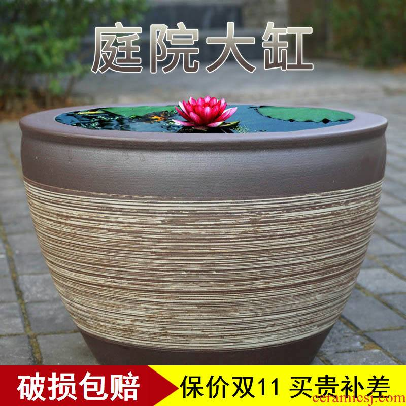 Water lily lotus basin cylinder tank cycas bonsai pot plant trees large flower pot king garden ceramics large clearance