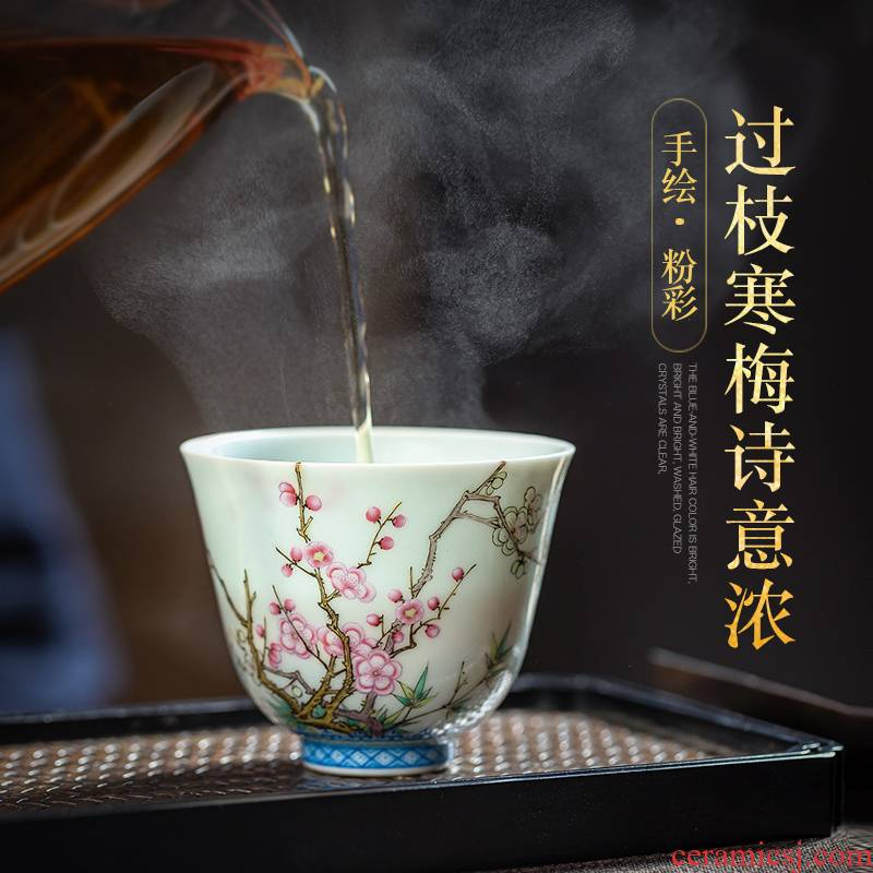 Jingdezhen ceramic sample tea cup tea once hand - made pastel wall name plum flower flora CPU master cup single CPU kung fu tea cups
