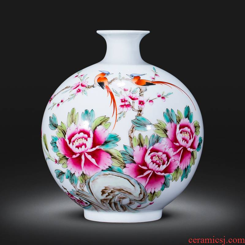 The Master of jingdezhen ceramics hand - made pastel pomegranate flower vase Chinese style living room decorated office furnishing articles rich ancient frame