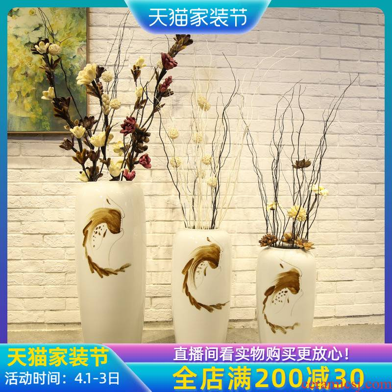 Jingdezhen sitting room, dining - room floor vase store of new Chinese style clothing store decoration flower implement ceramic flower receptacle, furnishing articles