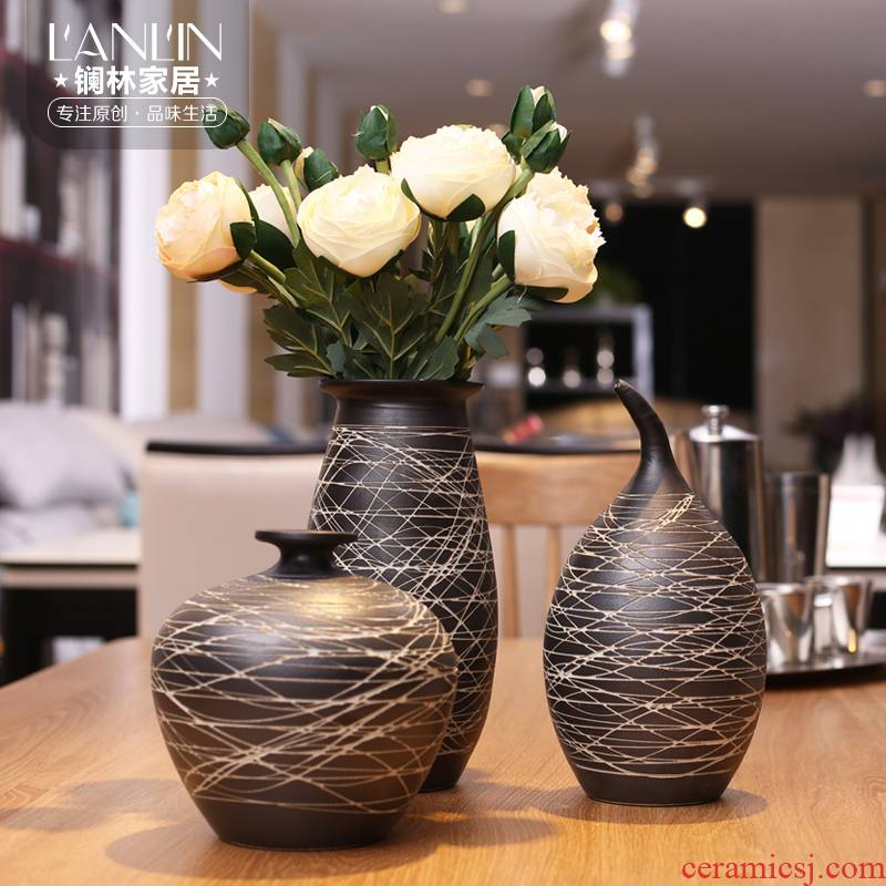 I and contracted sitting room Nordic home decoration ceramic vase furnishing articles of new Chinese style coarse pottery flower vase