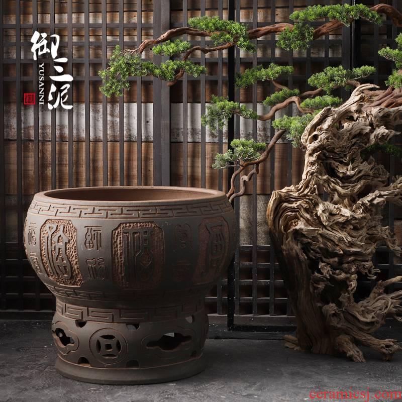 Jingdezhen ceramic head lotus crawford cylinder aquarium turtle carved earthenware tank large large goldfish bowl base