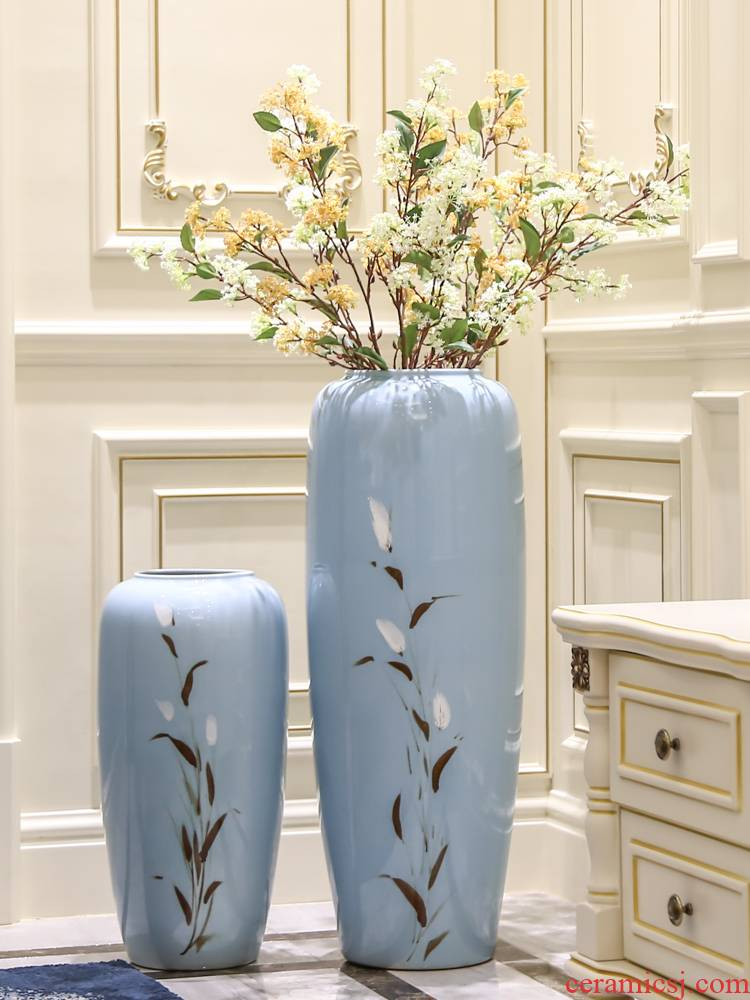 Jingdezhen ceramic vase landed furnishing articles hand - made I and contracted home sitting room of Chinese style porch dried flowers flower arrangement