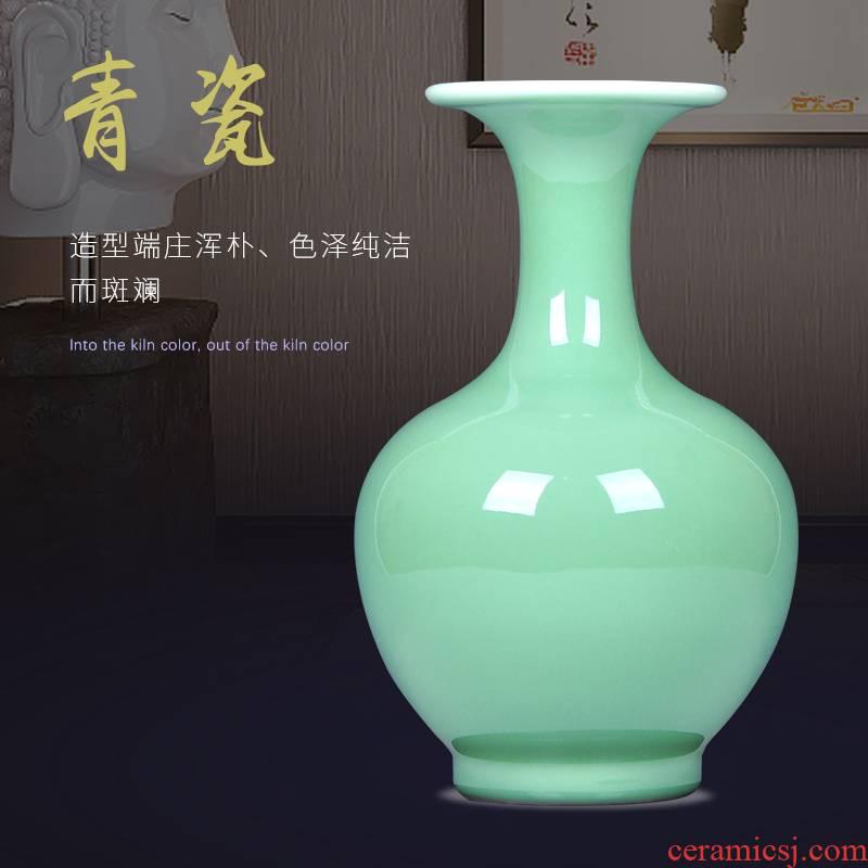Jingdezhen ceramics shadow blue color glaze design ceramic vases, I and fashionable adornment handicraft furnishing articles in the living room