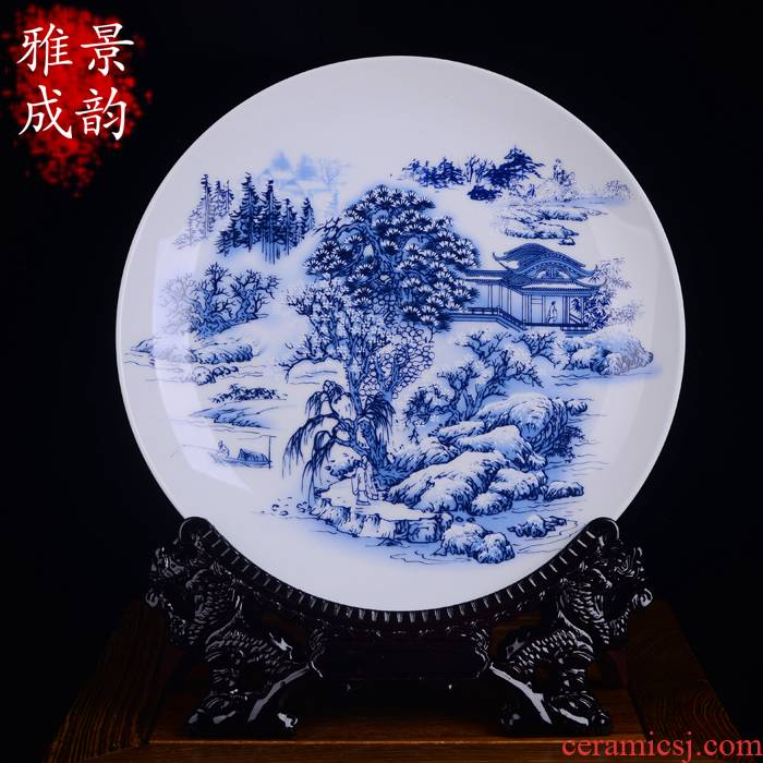 Modern Chinese blue and white porcelain of jingdezhen ceramics landscape decoration plate household act the role ofing is tasted furnishing articles