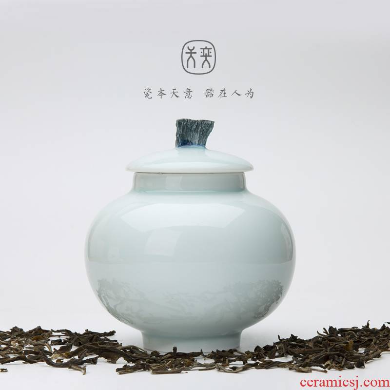 """""""Water music"""" days yi jingdezhen ceramic sealed as cans travel small portable moisture storage tanks with caddy fixings"""