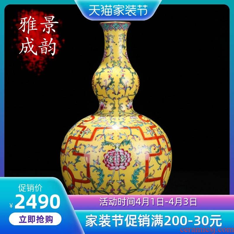 Jingdezhen ceramic new Chinese style household flower arrangement sitting room decorated bottled ornament porcelain enamel furnishing articles