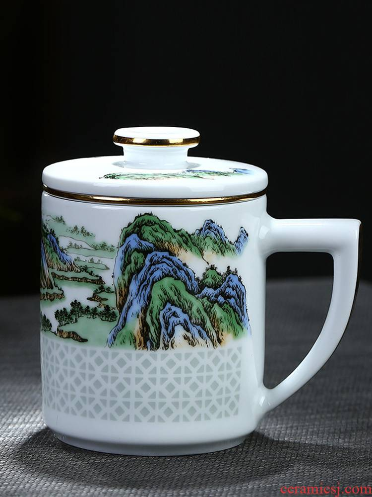 Jingdezhen ceramics and exquisite tea cup with cover household water cup high - capacity office cup famous tea separation
