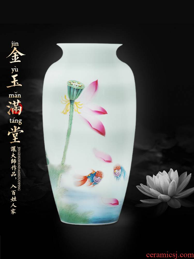 Jingdezhen ceramics by hand draw lotus flower vase furnishing articles sitting room of Chinese style household rich ancient frame flower decorations