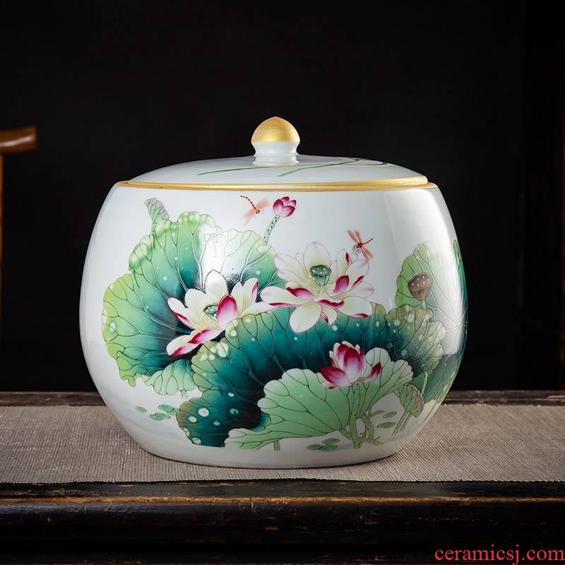Jingdezhen ceramic famille rose tea pot seal pot home storage tank wake receives moistureproof super - sized puer tea cake