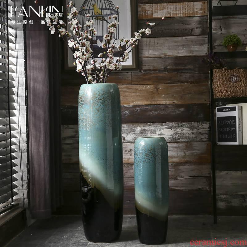 Jingdezhen landing simulation villa home sitting room Chinese flower arranging flower vase large ceramic decorative furnishing articles