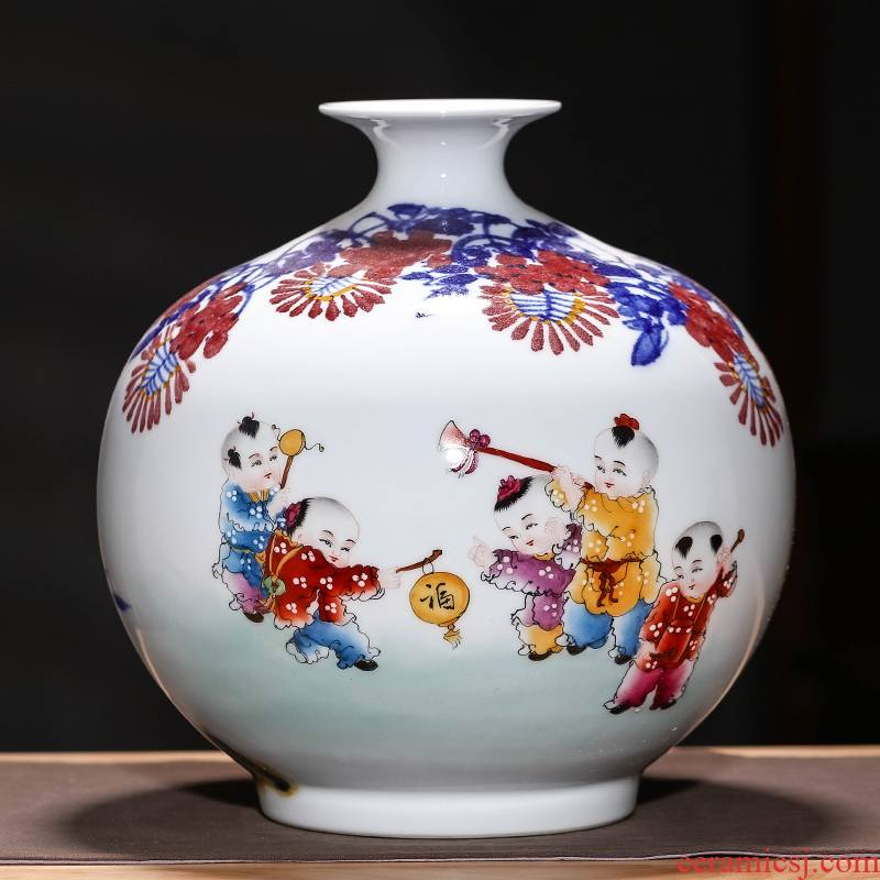 Jingdezhen ceramics famous hand - made bucket color blue and white porcelain vases, flower arrangement sitting room TV ark, of Chinese style household furnishing articles