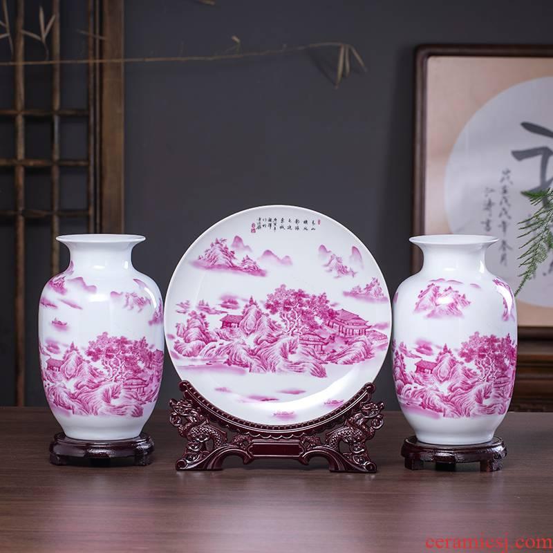Chinese jingdezhen ceramics three - piece floret bottle hanging dish flower arrangement home sitting room adornment crafts