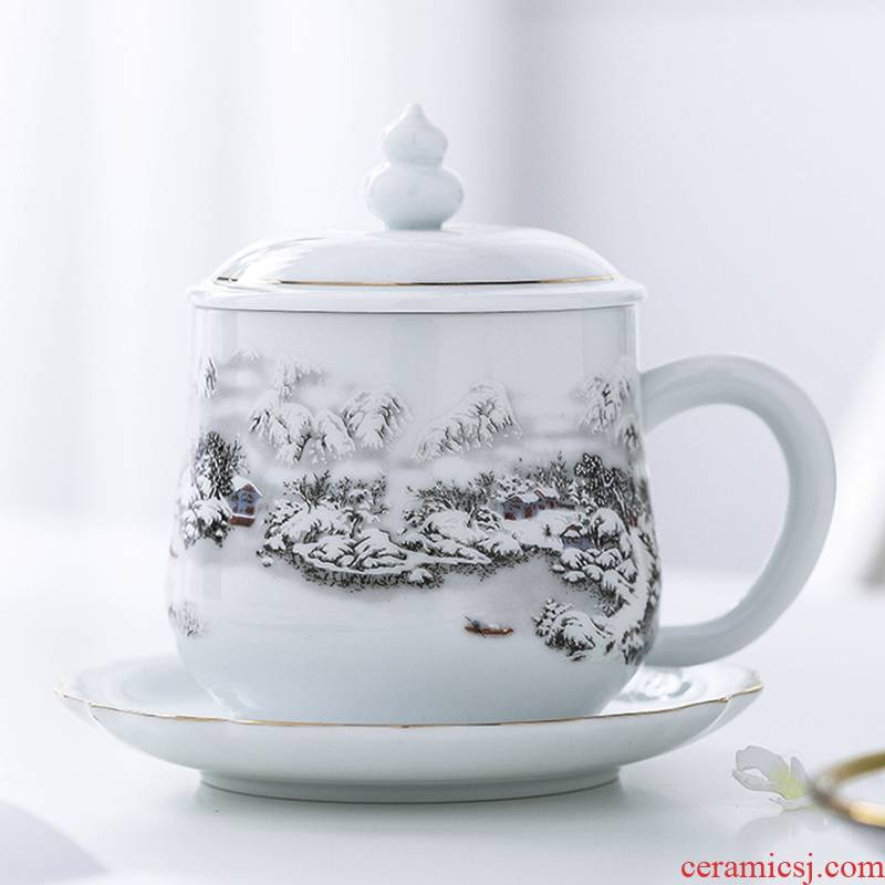 Jingdezhen ceramic cups with cover glass office female household paint individual single cup coffee cup tea cup