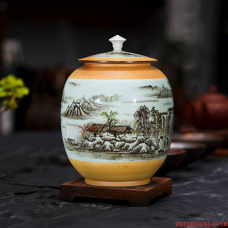 Jingdezhen ceramic hand - made tea pot with cover seal moisture household storage tank one and a half jins of large POTS