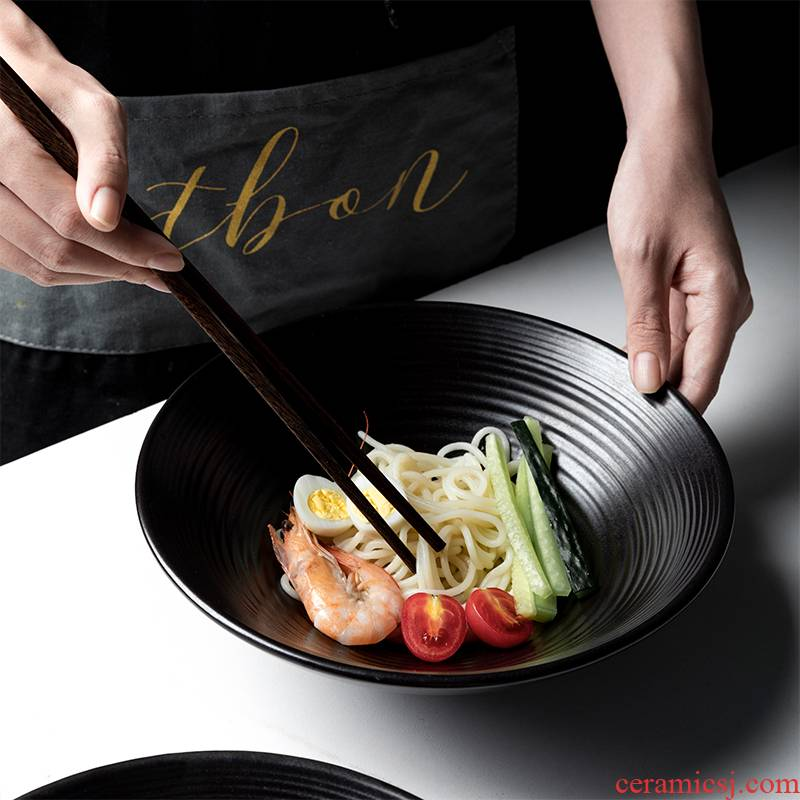 Ceramic bowl creative ink deep black of a single large tableware to eat bowl household salad bowl mercifully rainbow such use