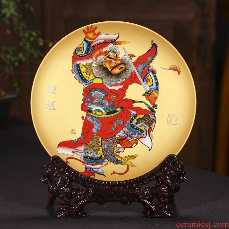 Jingdezhen ceramics doors hang dish town house decoration decoration plate Chinese style living room to ward off bad luck, furnishing articles