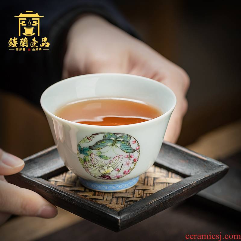 All hand hand draw pastel regiment butterfly masters cup jingdezhen kung fu tea set sample tea cup ceramic terms cup single CPU