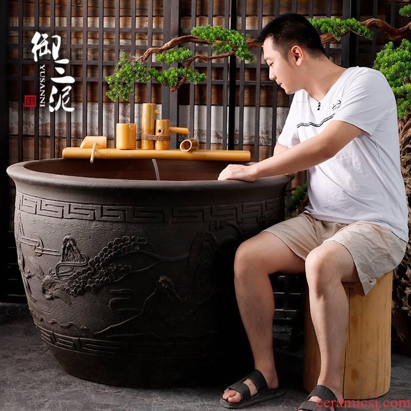 Jingdezhen earthenware coarse pottery do old large ceramic tank goldfish bowl big fish tank water lily tortoise cylinder engraving