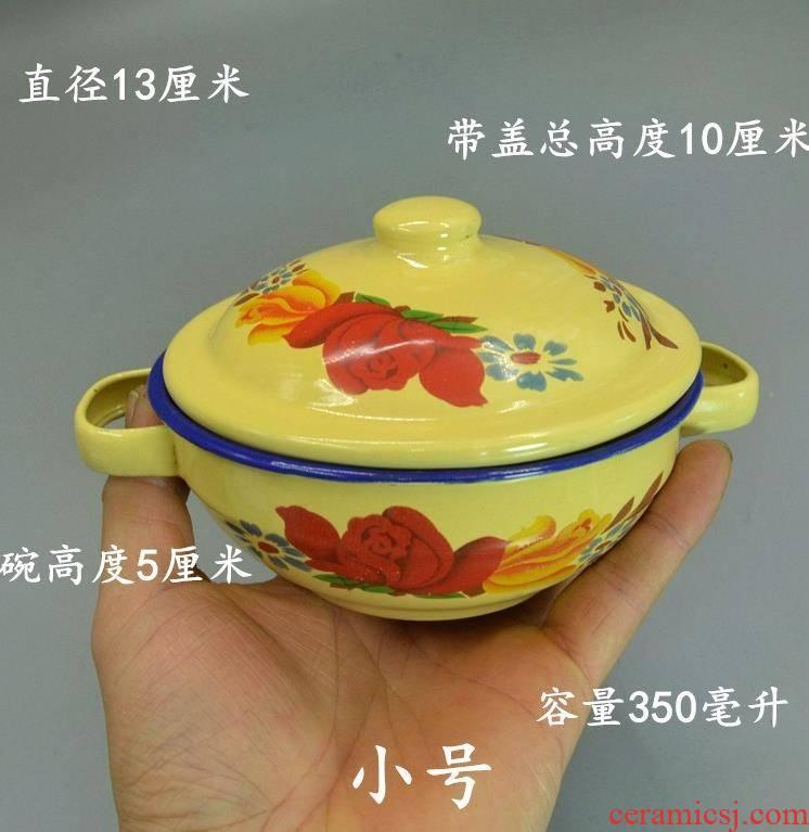 Breakfast ears enamel household large size bowl with cover with cover enamel bowls bowl of old curry