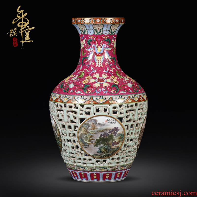 Imitation the qing qianlong emperor up jingdezhen ceramics colored enamel paint hollow - out medallion landscape pattern bottles of the sitting room is placed