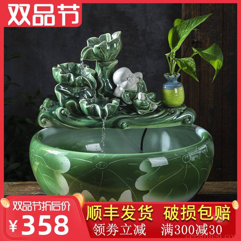Ceramic water tank sitting room of small desktop furnishing articles oxygen goldfish lotus lotus cylinder automatic cycle water tank