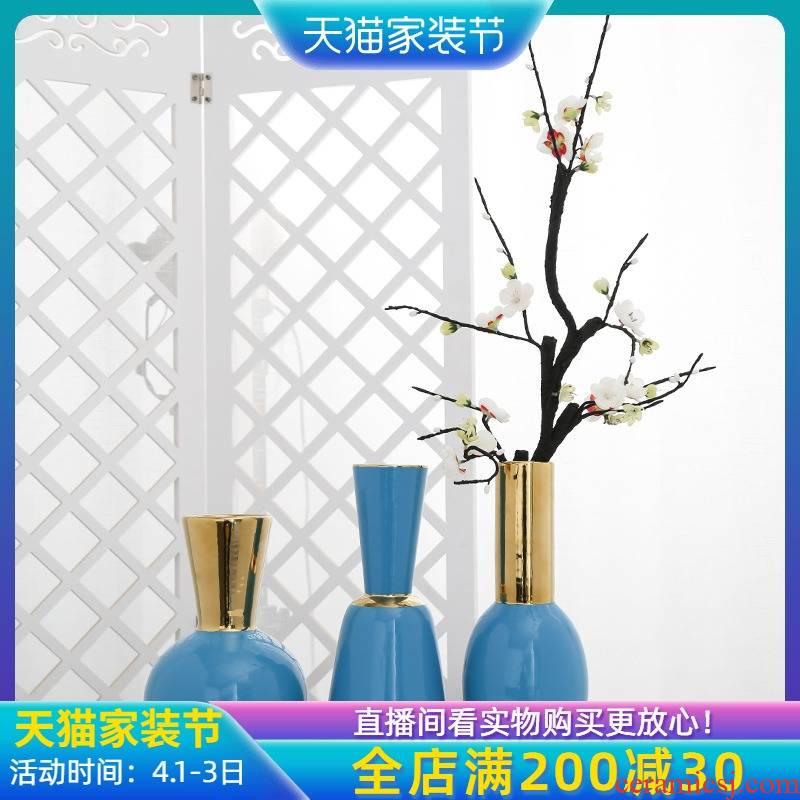 Jingdezhen ceramic creative furnishing articles mesa vase sitting room porch table home decor simulation flower arranging flowers
