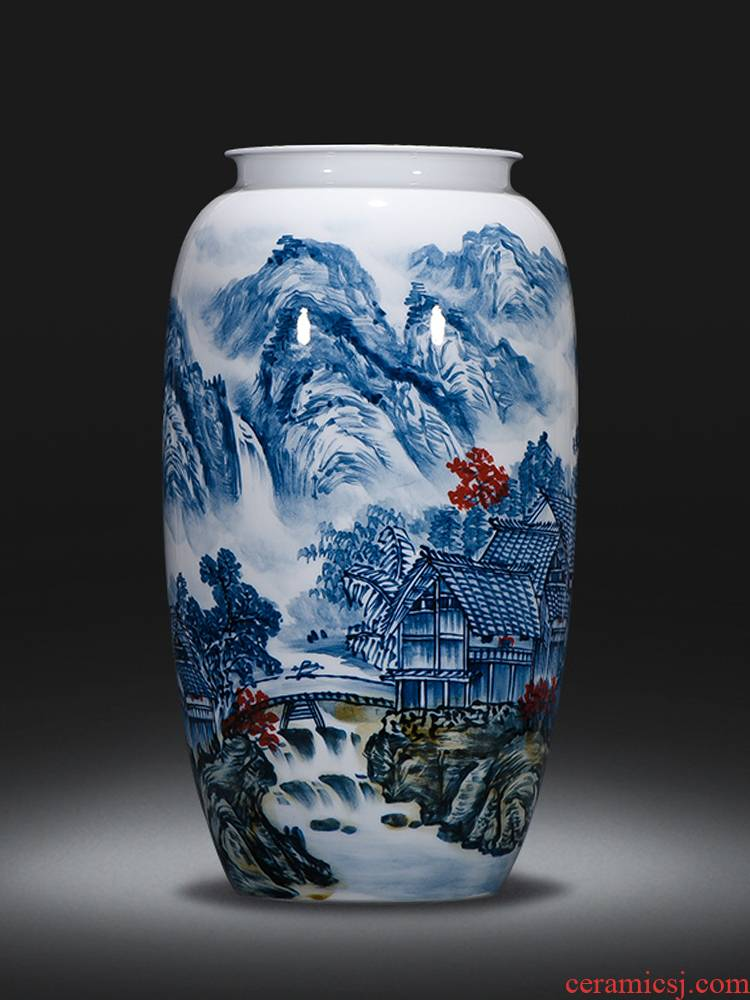 Jingdezhen ceramics hand blue and white porcelain vases, famous master ikebana furnishing articles of new Chinese style living room decorations