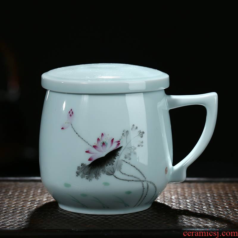 Jingdezhen hand - made ceramic cups with cover filter tea BeiYing celadon office gift cup household glass cup