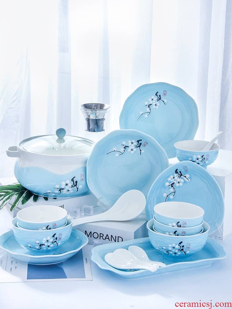Dishes suit household 4-6 people contracted creative eat bread and butter plate of noodles in soup bowl chopsticks combination ceramics European Dishes