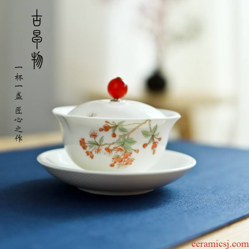 Dehua suet jade white porcelain tureen checking household kung fu tea set ceramic cups three bowl teapot