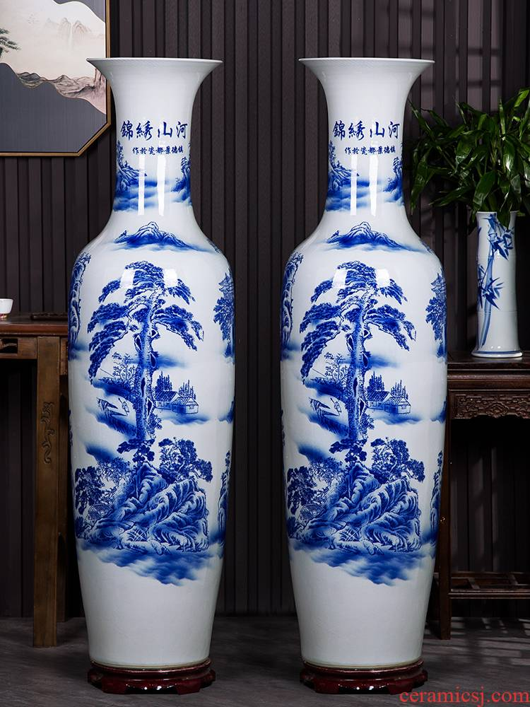 Jingdezhen ceramics landscape painting of large blue and white porcelain vase to heavy sitting room adornment is placed large hotel
