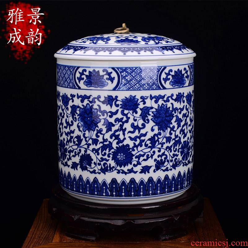 Jingdezhen ceramic tea pot large pu - erh tea store receives the manual sealing pot tea cake tea tea room decoration