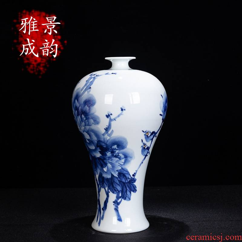 New living room of Chinese style household porcelain of jingdezhen ceramic hand - made charactizing a vase of blue and white porcelain decorative furnishing articles