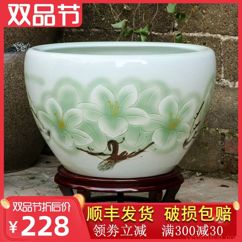 Jingdezhen ceramic big fish tank floor heavy brocade carp courtyard garden cylinder lucky feng shui and circular tank