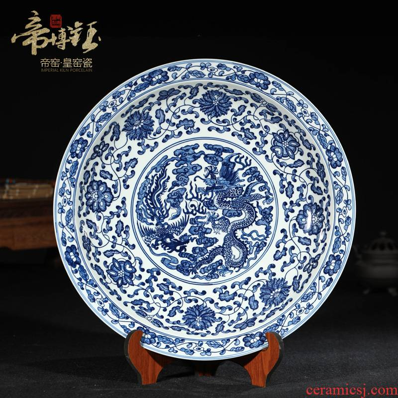 Jingdezhen ceramic antique hand - made sat in extremely good fortune hang dish plate plate of Chinese blue and white porcelain is sitting room adornment is placed